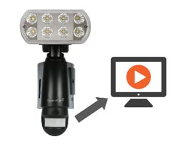 LED floodlight and CCTV recorder